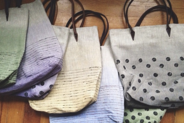 Cara, All my linen bags are hand painted with mineral pigments and hand Sewn.