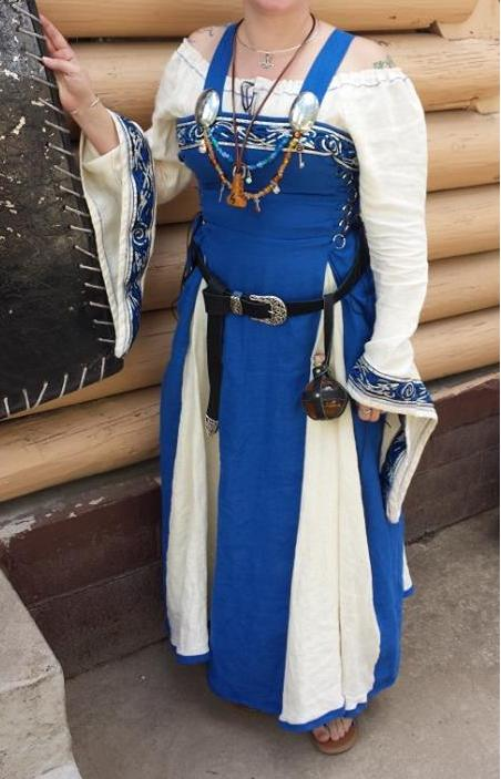 Marykate, This is a commissioned Viking wedding dress. The apron dress is made with royal blue panels and whit...