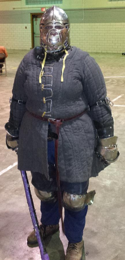 Amberly, Front view of my gambeson while armored. All hand finished! Quilted it myself!
