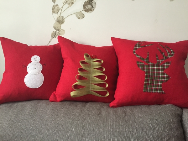 Robyn, Holiday Home Decor Pillow Covers made from 4C22 Crimson Softened.