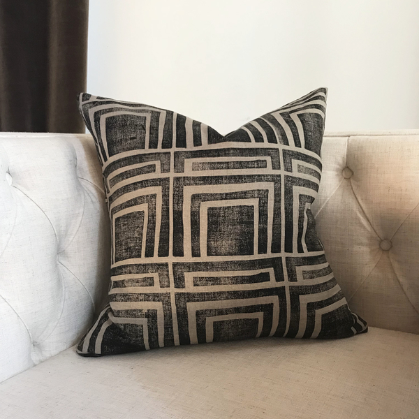 Ruth and Rhoda, Home Decor // Hand block printed pillow in original pattern by Ruth + Rhoda (my shop) using IL019 Na...