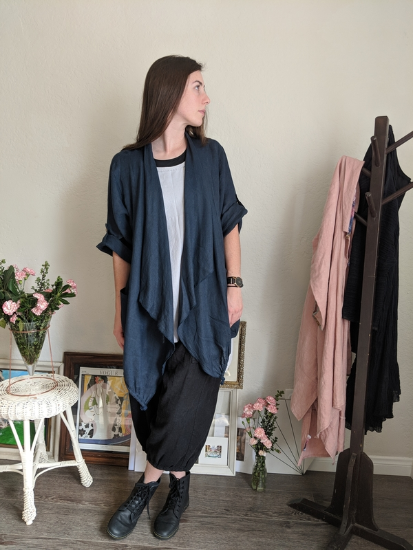 Jane, Loose fitting waterfall jacket IL020 Linen paired with loose fitting bloomer style pants made from I...