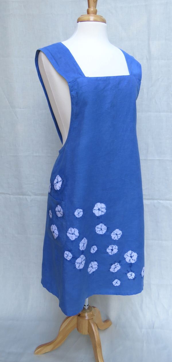 Erica, Indigo dyed, shibori embellished, cross back apron in mid weight linen.