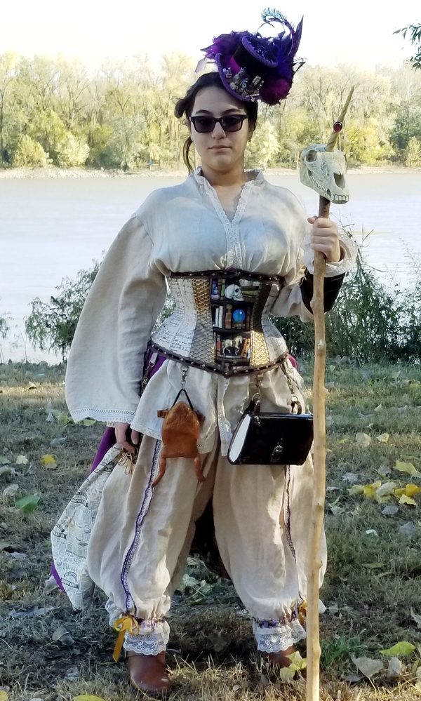 Katherine, Costume Entry: Diagon Alley Apothacarian ensemble for my daughter. The white linen  fabric for the t...