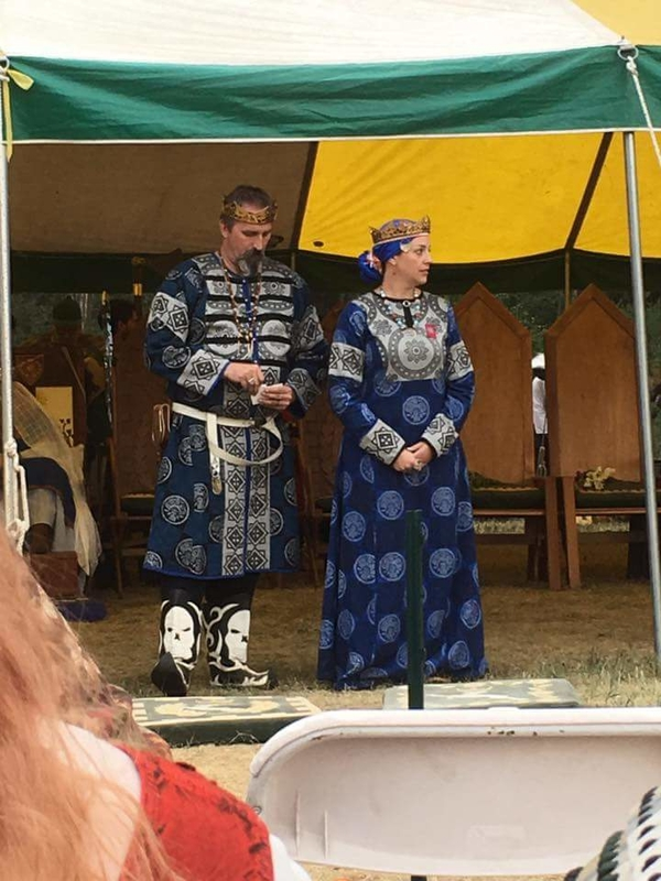 George, Block printed Rus inspired garb made for the King and Queen of the Outlands to be worn for Battlemoo...