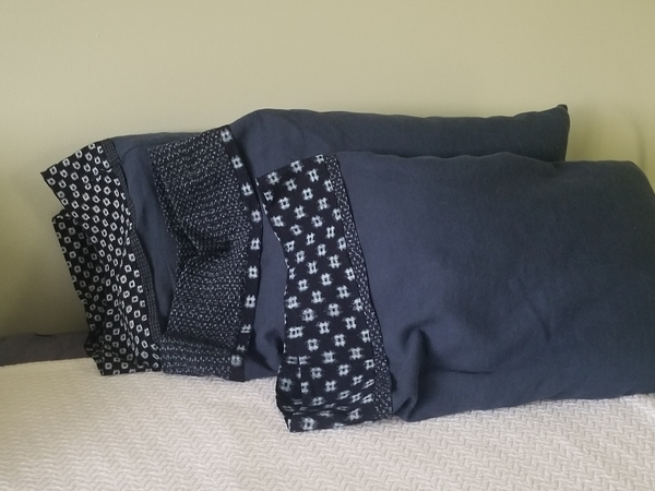 Karen, 4 yds of cobalt mid weight linen sewn into 6 standard size pillowcases using the burrito  method and...