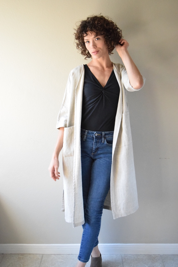 Randee, ( Apparel Entry ) The Trench in heavy weight Mixed Natural features an A-line shape for beautiful dr...