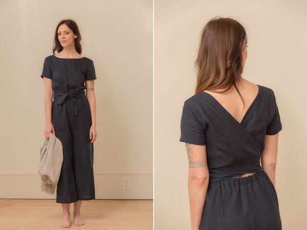 Paula, This is my short sleeve jumpsuit with a wrapped back, boat neck, elastic waist and a cropped wide le...