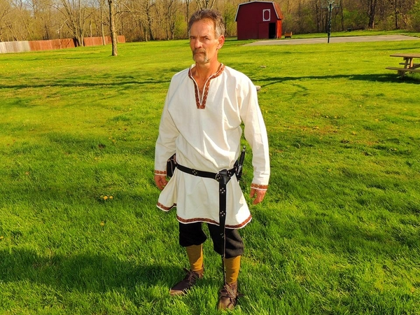 Dawn, I made this Viking style tunic with trim out of 100% linen. The pants are of linen as well. I love w...