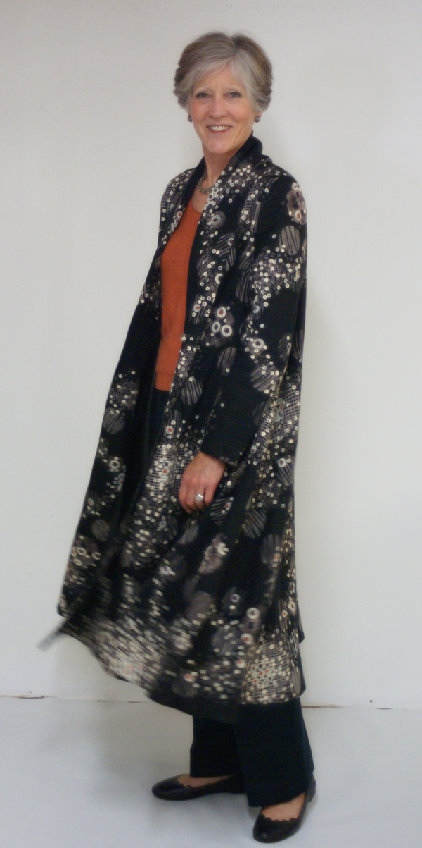 "Kathryn, I made this fully lined mid-calf swing coat (120"" at the hem) with rolled collar from IL019 bla..."