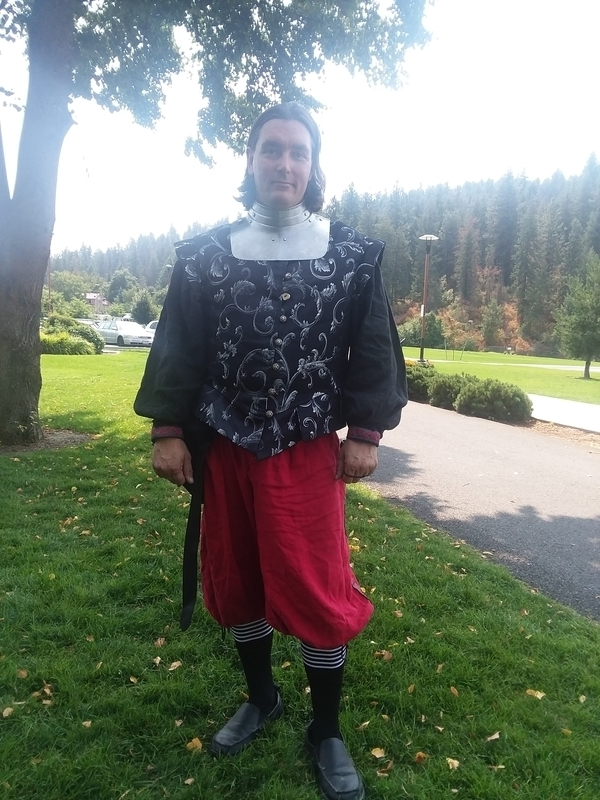 David, This is my armor for rapier fighting in the SCA. The shit and pants are linen I got here. The Dobble...