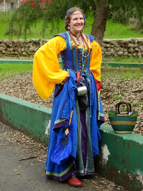 Cindy, This is my Irish Renaissance faire garb. The yellow leine (shirt) and the blue and green skirts, inc...