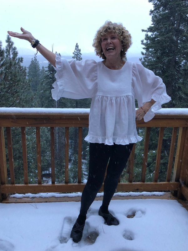 Bonnie, It's snowing,  100% 3.5 oz, bleached, softened linen.  Soft, flowy, and, oh so comfortable.   I love...