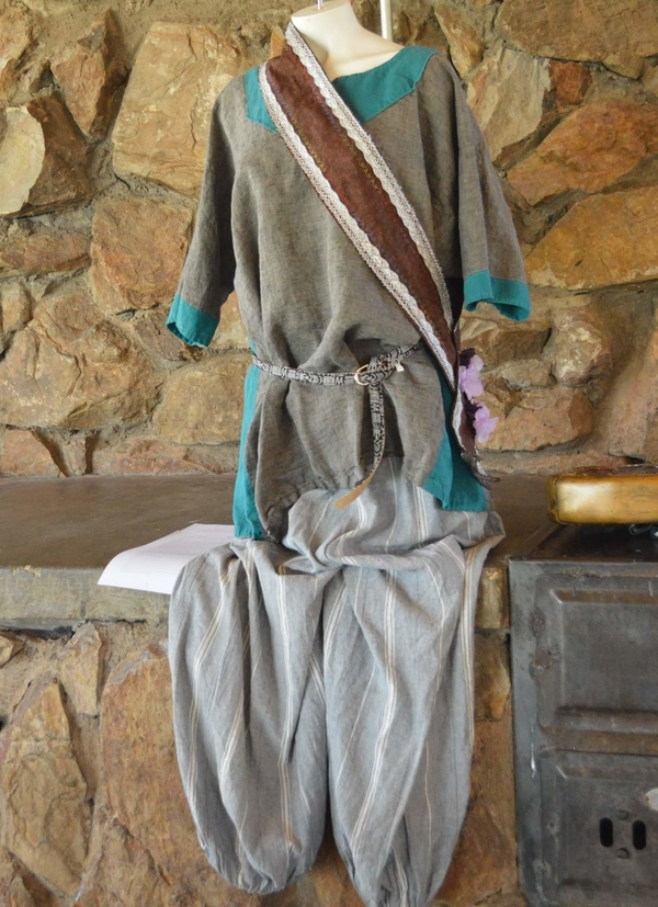 Shannon, A viking tunic and pair of puff pants built for a local Ren faire, and weekly amtgard play. The sash...