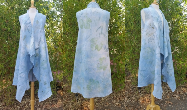 "Virginia, APPAREL: ""Eco printed and Indigo dyed long vest with fringed edges. IL020 BLEACHED - 100% Linen..."