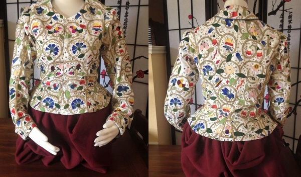 Heather, Hand embroidered, Elizabethan Polychrome waistcoat.  IL019 5.3 OZ 100% linen base. in Optic white....