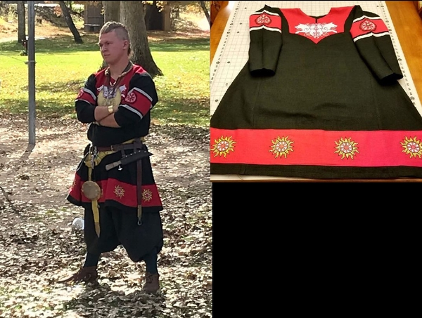 Michelle, Reenactment/costume. Viking Tunic. Black / Fire Cracker Red.