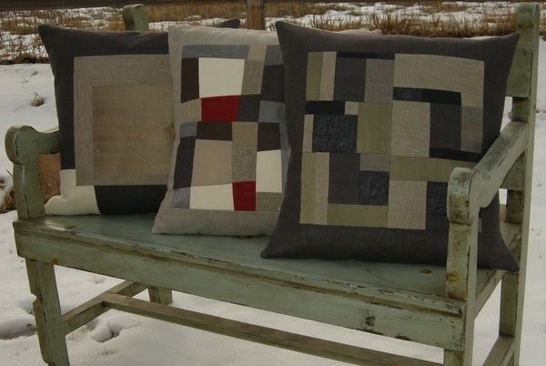 Martha, Home Decor.  These 20 inch decorative pillows were pieced using rustic and mid-weight linen with pie...