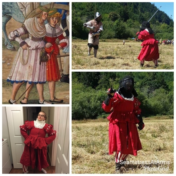 Sara, The Fighting Frau, an SCA Cut and Thrust legal armored garment. Inspired by a Landsknect Trossfrau i...