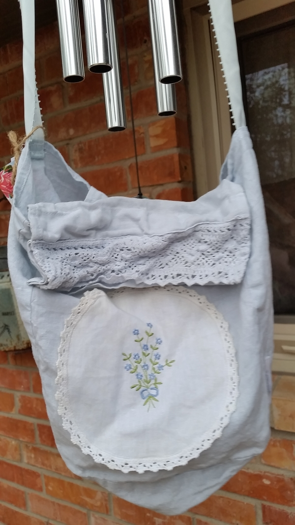 Teresa, Baby blue linen tote/purse embellished with a cotton embroidered doily and crochet lace.