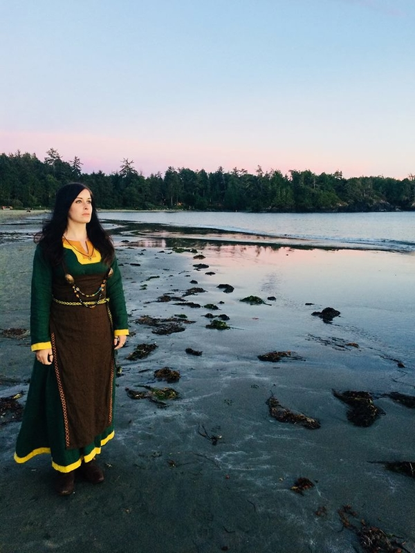 Kristine, A Viking linen dress and apron dress made from Evergreen, Bamboo, Autumn Gold, and Chocolate. using...