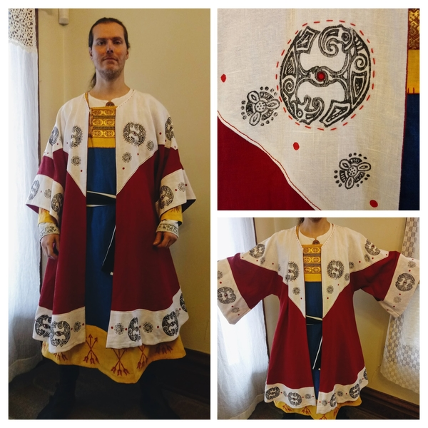 Renee, Reenactment/Costume category. This is a Viking inspired coat made from heavy weight linens and parti...