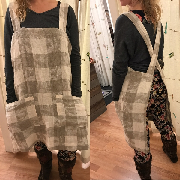 Josie, Pinafore Apron wear it to cook, to garden,, to do anything!  Large pockets. No buttons or hooks or t...