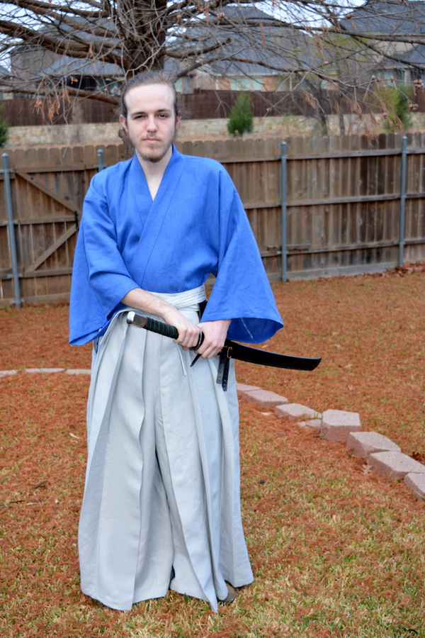 Kerry, Japanese Hakama pants and Gi.  The Gi is made from IL019 ULTRAMARINE Softened which sewed up almost...