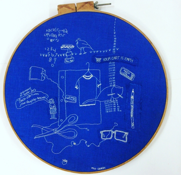 "Peg, White cotton thread on blue linen in 22"" embroidery hoop. Inspired by what I heard, saw, did, o..."