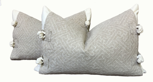 "Joanna, These pillows feature white linen base pillow covers topped with natural linen jacquard ""jacket..."
