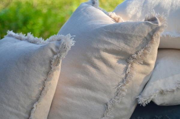 Janet, This Interior Design submission is timeless, rustic, handfrayed pillows in Natural Linen.