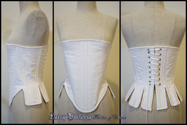 "Daisy, White linen Elizabethan ""corset"" or pair of bodies / stays"