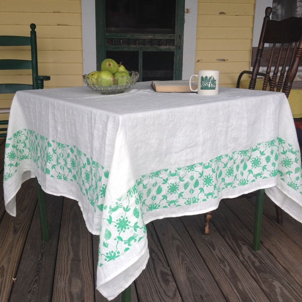 Kathi, The border on this linen tablecloth is a design I hand carved and linocut block printed with Maine c...