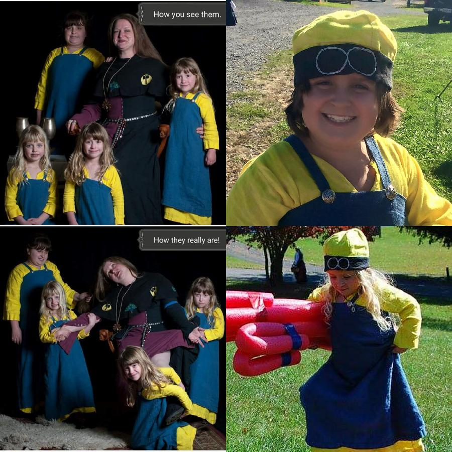 jynette  , Viking Minion Dresses! My girls (3 of which are triplets) love going to SCA events, so I used their...