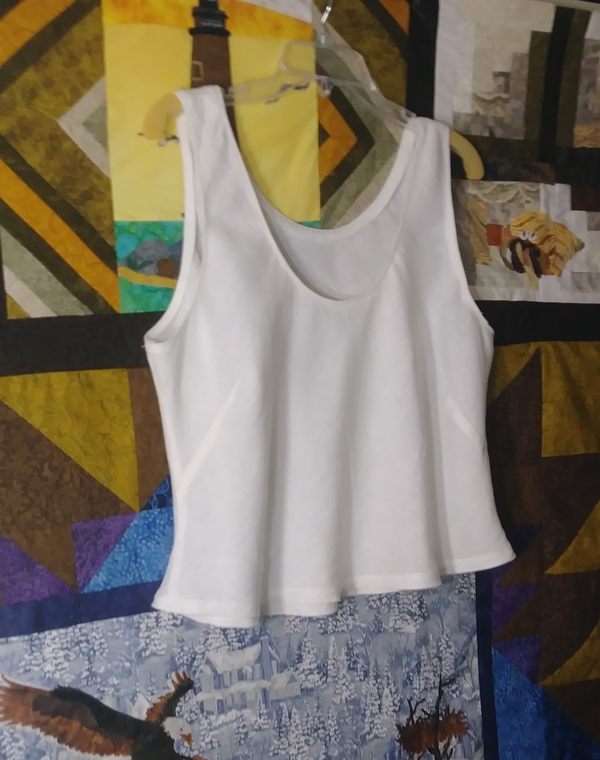Elaine, The Nico camisole, neck and armhole edges finished with Piped Bias - hanging over a quilt in progres...