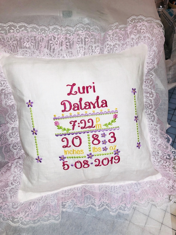 Theresa, Embroidered Biirth Announcement pillow. Made with opti white linen and pink lace for my great niece.