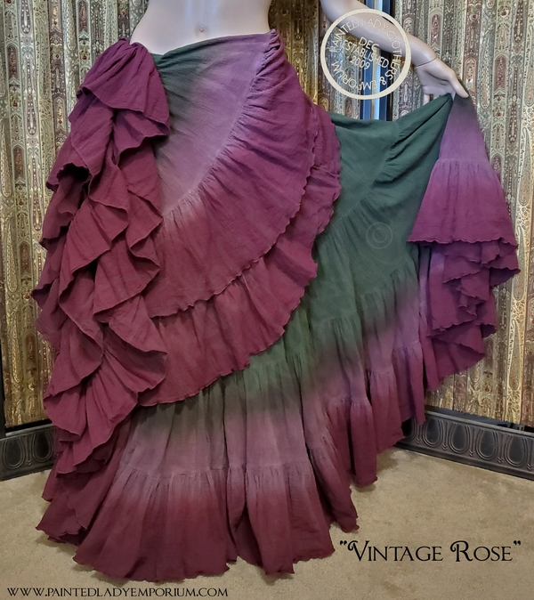 "Lady Faie, 25 Yard Hem Skirt by Lady Faie hand dyed in ""Vintage Rose"" color palette"