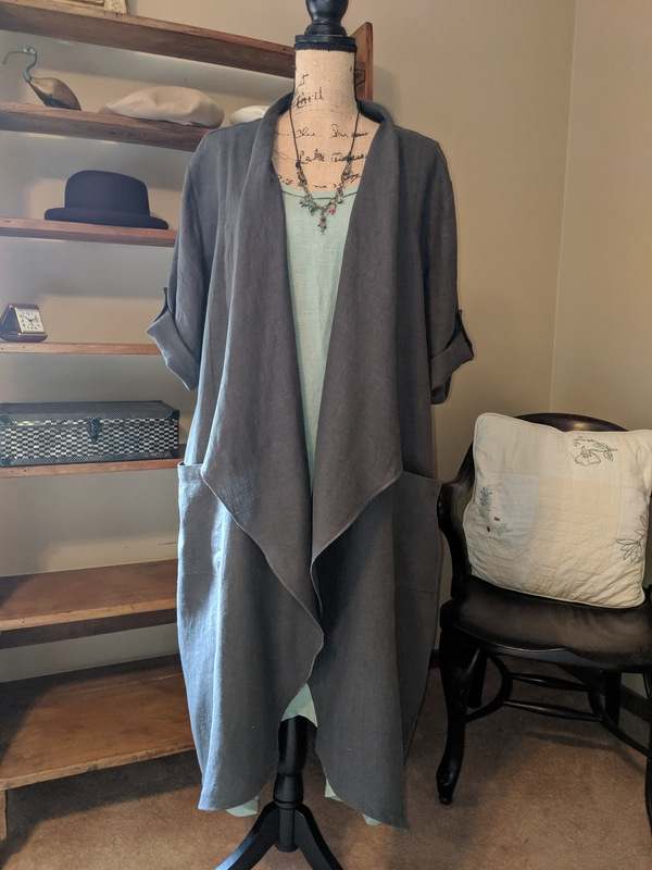 Jane, IL019 Nine Iron Waterfall Jacket. Great fabric to work with. #SunRagsStudio