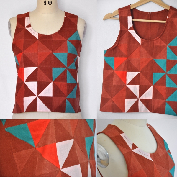 Laine, This Quilted Tank top was constructed using half square triangles cut from Fabrics Store linen colou...
