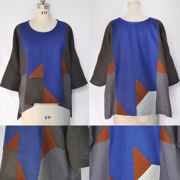 Laine, This Quilted Pullover was pieced together using Fabrics-Store linen colours Ultramarine, Graphite, N...