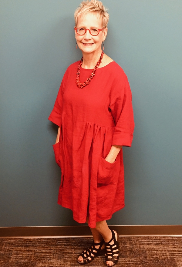Jane Ann, Tunic dress made from Simplicity 8856 out of a crimson red linen from fabrics-store.com of course! I...