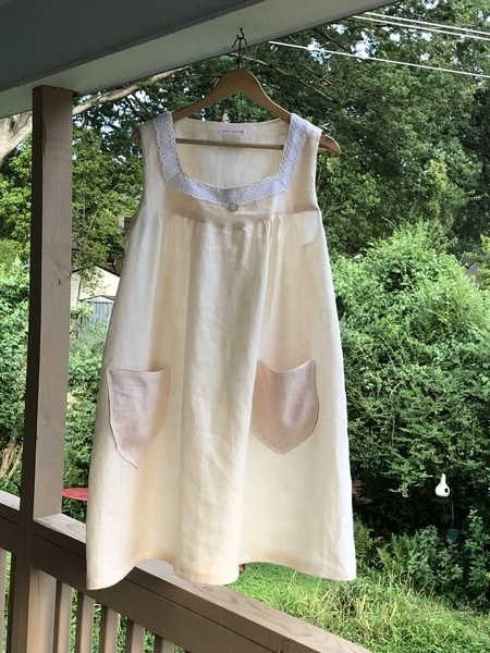 Jeannette, A cool summer nightgown in Froth IL029, great for sultry nights in North Carolina.