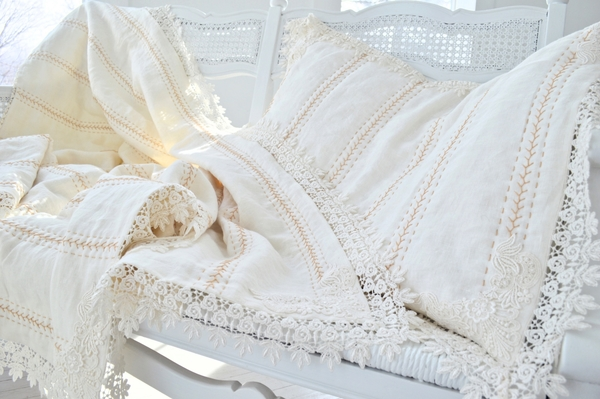 Julie, Lap throw of Linen with a Venice Lace border and matching pillow sham. Completely hand embroidered/q...