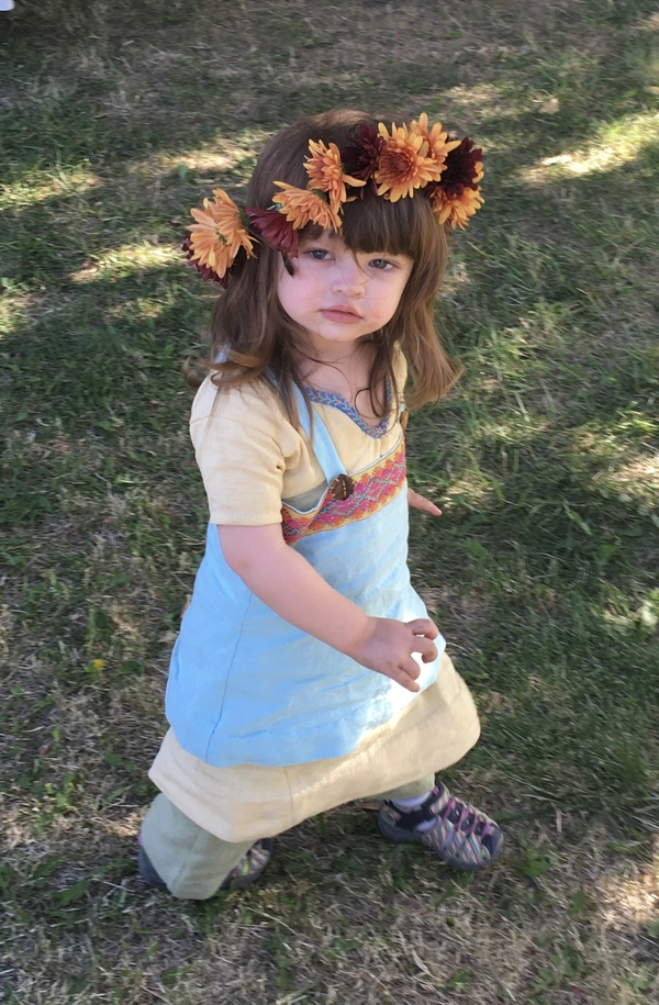 Sandra, Re-enactment/costume - Viking garb for a toddler girl. She is wearing pale green linen trousers, a y...