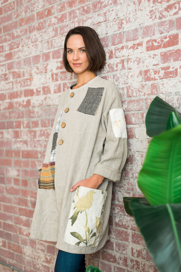 Janice, Linen tunic/jacket inspired by Japanese boro stitching.  Layers of linen hand stitched, similar to q...