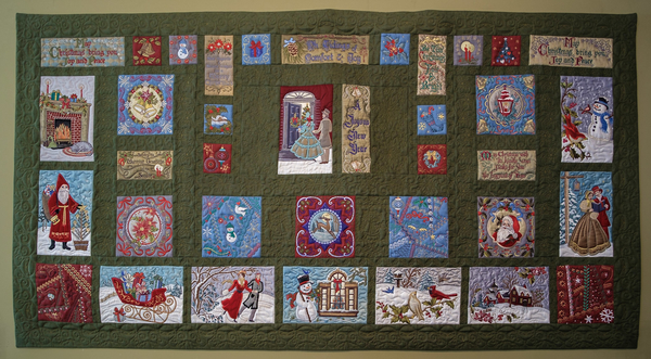 Jean, Victorian Christmas. This is a 40 X 80 embroidered quilt with over 1,000,000 stitches. First time us...