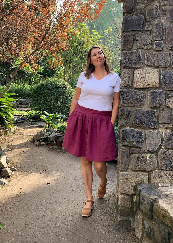 Melissa, Apparel- Twig and Tale Meadow Skirt made with Wild Cherry middle weight linen.  This skirt features...