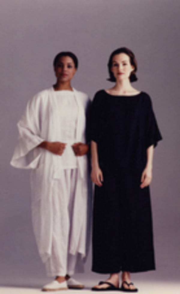 Sandra, Handkerchief linen separates......white PJ Pant, T-Top, Kimono Coat and black PJ Pant, Square sleeve...