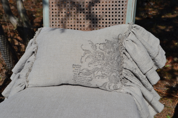 Karen, Lumbar Pillow made with 4C22 Natural Linen. Double Ruffle with raw edges. Stamped with IOD Rose Toil...