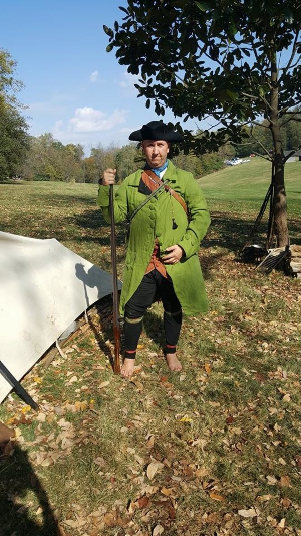 Brandon , Revolutionary War gentlemans frock coat I made of green linen from Fabric Store and mens waistcoat...